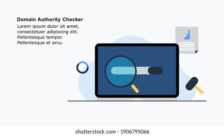 Illustration of domain authority checker tool, with a concept of checking the domain authority in a website with a laptop, can be used for a blog post, landing page banner, web home page and eBook.