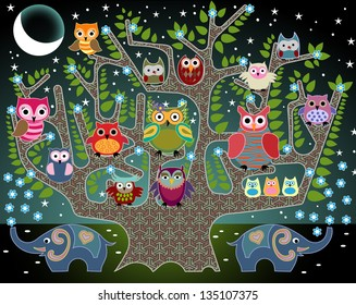 An illustration done in the style of a childrens book: elephants and owls