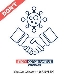Illustration of don't shake hands in Coronavirus COVID-19 crisis isolated on white background, Vector design element.