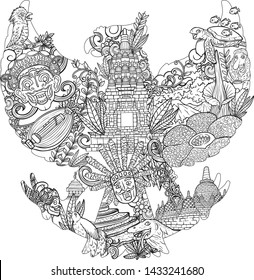 illustration doodle of indonesia with garuda pancasila silhouette