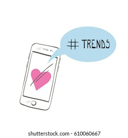 Illustration with doodle smartphone and hashtag trends isolated on white background