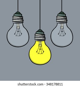 Illustration of doodle style light bulbs on gray background