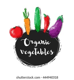 Illustration with doodle vegetables. Tomato, carrot, cucmber, pepper, eggplant