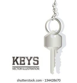 Illustration of door keys hanging from a string, vector illustration