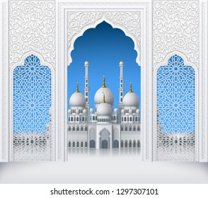 Illustration of door or window of mosque, geometric pattern, background for ramadan kareem greeting cards, EPS 10 contains transparency.