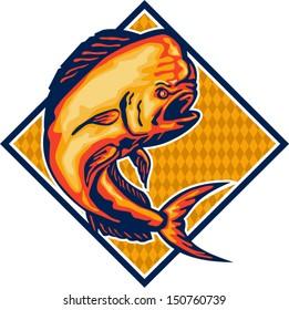 Illustration of a dorado dolphin fish mahi-mahi jumping set inside diamond shape on isolated background.