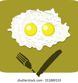 Illustration of double fried egg with grumpy face on the white background