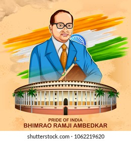 illustration of Dr Bhimrao Ramji Ambedkar with Constitution of India for Ambedkar Jayanti on 14 April