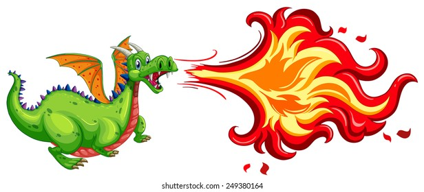 Illustration of a dragon blowing fire