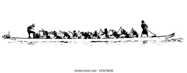 illustration of a dragon boat in action, black and white on white background