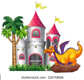 illustration of a dragon and a castle