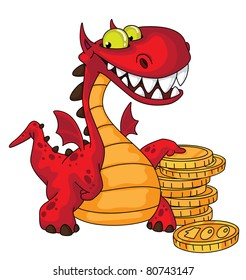 illustration of a dragon and money