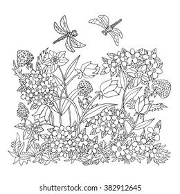 Illustration with dragonflies and flowers.