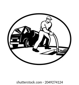 Illustration of a drainage drain surgeon unblocker worker unblocking hose into manhole with drainage truck hydro unit in black and white retro style.