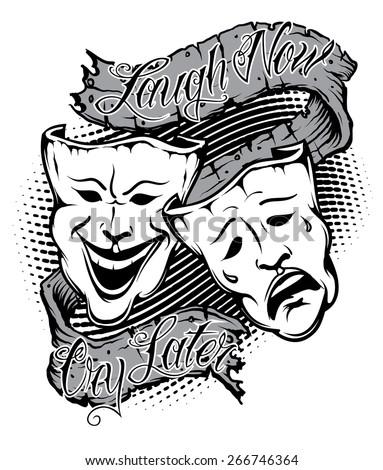 Illustration Drama Masks Banner Saying Laugh Stock Vector Royalty