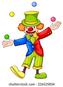 Illustration of a drawing of a clown juggling on a white background