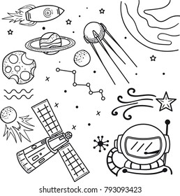Illustration in drawing hand doodle style. Space, astronaut, planet, satellite, rocket.