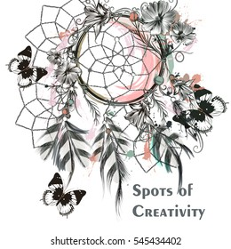 Illustration with dream catcher and butterflies. Symbol of creativity