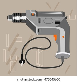 Illustration of a drill on color background