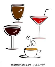 illustration of drink set