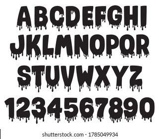 Illustration of dripping alphabet with numbers. Horror Halloween font. Slippery letters. Bloody font. Drops of liquids. Isolated on white background. Latin alphabet.
