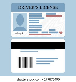 Illustration of driver's license front and back
