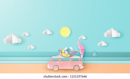Illustration of driving a van Travel in summer on sea beach. Car with beach equipment Traveling along the beach in summer. paper cut and craft style. vector, illustration.