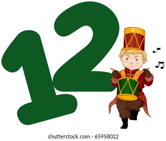 Illustration of a Drummer Drumming His Drum Beside a Number Twelve