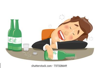 Illustration of a Drunk Businessman Who Finished Bottles of Soju