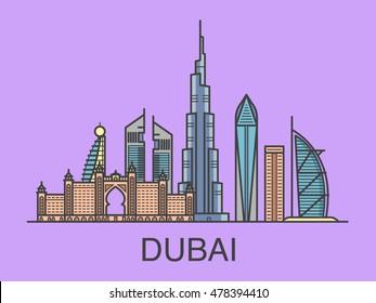 Illustration of Dubai city. Rectangular composition.