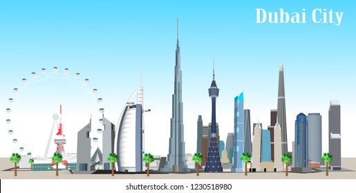 illustration of Dubai city in United Arab Emirates and its landmarks. Famous buildings included such as Burj Khalifa, Burj Al Arab, Dubai Atlantis, and cities notable tall buildings.