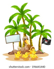 Illustration of a duck and her ducklings near the signboard under the tree on a white background