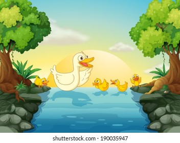 Illustration of the ducks at the river