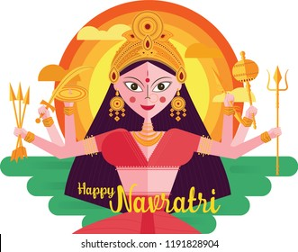 Illustration of durga with happy navaratri. Navaratri , is a nine nights (and ten days) Hindu festival, celebrated in the autumn every year.