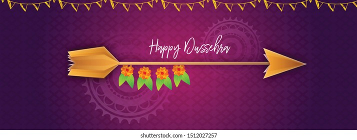 Illustration of Dussehra banner background with arrow and decoration.