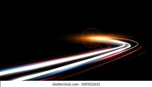 Illustration of dynamic lights speed vector road in night time. Long exposure car light trails in road tunnel.