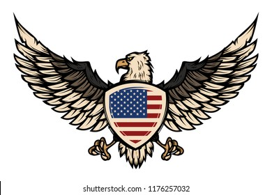 Illustration of eagle with american flag. Design element for poster, flyer, emblem, sign. Vector illustration.