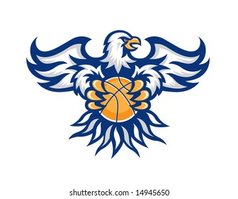 Illustration of eagle to be used as a mascot for basketball. Also in my portfolio are images with this eagle for soccer, baseball and football.