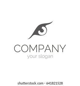 Illustration of eagle eye, performed in monochrome. Vector logo template for information security company. EPS10.