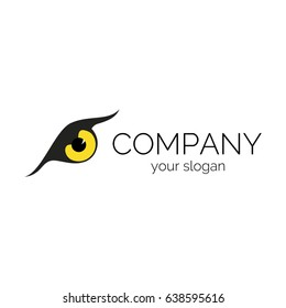 Illustration of eagle eye in yellow color. Vector logo template for information security company. EPS10.