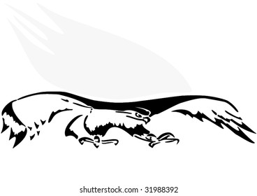 Illustration, an eagle in flight on a white background.