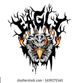 illustration of eagle head on fire for tattoo design or t-shirt