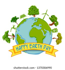 illustration of Earth Day concept for safe and Green Globe