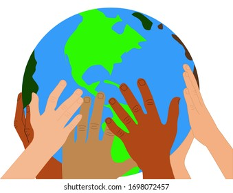 Illustration for earth day, hands of different people holding the earth globe