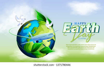 Illustration of earth day poster, banner for environment safety celebration with green background