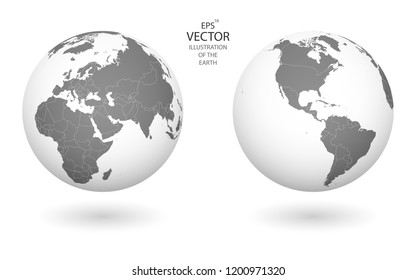 Illustration of the Earth. Each of the countries of the world can be used independently of the rest of the content. Each country has its own autonomous border and territory. High quality illustration.