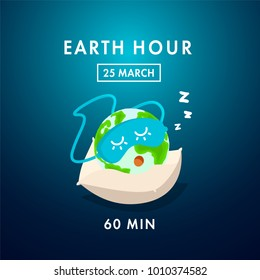 Illustration of Earth hour. 25 march. Our planet sleeps on the pillow. Flat design vector illustration for web banner, web and mobile, infographics. Vector