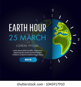 Illustration of Earth hour. 25 march. Our planet sleeps. Flat design vector illustration for web banner, web and mobile, infographics.