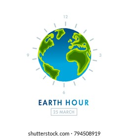 Illustration of Earth hour. 25 march. Save our planet. Flat design vector illustration for web banner, web and mobile, infographics. Vector
