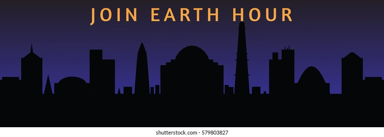 Illustration of earth hour. Background with contours of the city at night and a bulb